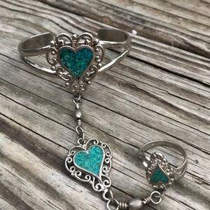 Vintage crushed turquoise slave bracelet
